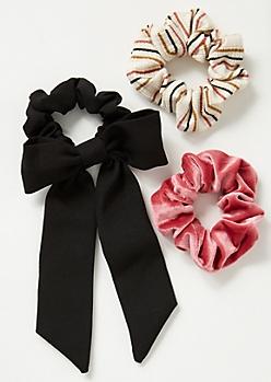 3-Pack Black Striped Scrunchie Set