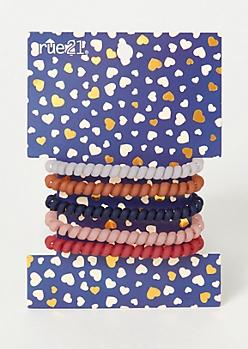 5-Pack Pink Matte Mini Spiral Hair Tie Set