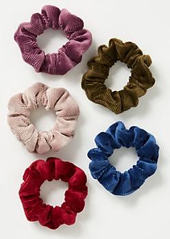 5-Pack Multi Velvet Scrunchie Set