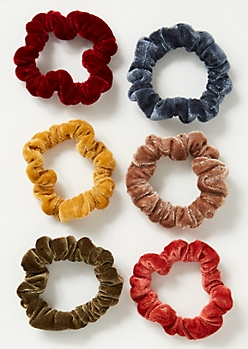 6-Pack Fall Velvet Mini Scrunchie Set