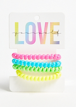 4-Pack Neon Spiral Hair Ties