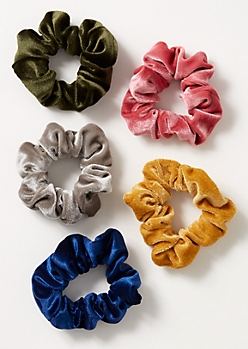 5-Pack Vibrant Velvet Scrunchie Set