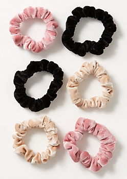 6-Pack Neutral Velvet Scrunchie Set