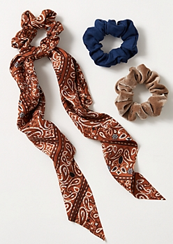 3-Pack Burnt Orange Bandana Print Tie Scrunchie Set