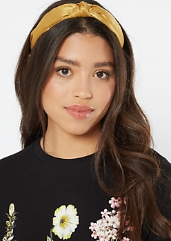 Mustard Knot Top Satin Headband