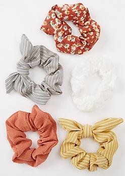 5-Pack Burnt Orange Floral Print Striped Scrunchie Set