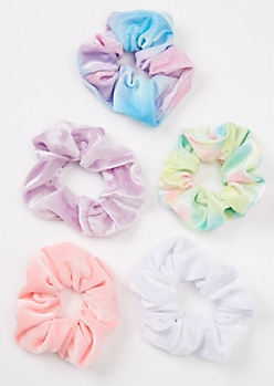 5-Pack Pastel Tie Dye Velvet Scrunchie Set