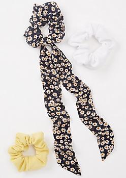 3-Pack Navy Floral Print Ribbon Scrunchie Set