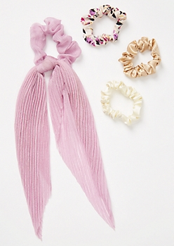 4-Pack Lavender Pleated Mini Bow Scrunchie Set