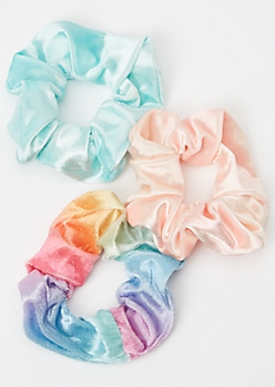 3-Pack Rainbow Pastel Velvet Scrunchie Set