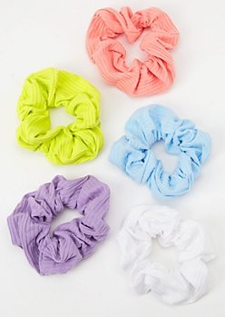 5-Pack Pastel Ribbed Knit Scrunchie Set