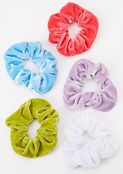 5-Pack Neon Lavender Velvet Scrunchie Set