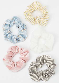 5-Pack Ivory Striped Velvet Scrunchie Set