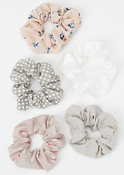 5-Pack Taupe Floral Print Scrunchie Set