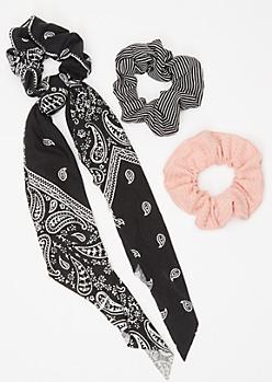 3-Pack Black Bandana Hair Scrunchie Set