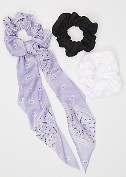 3-Pack Lilac Bandana Hair Scrunchie Set