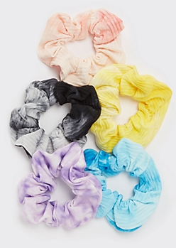 5-Pack Tie Dye Ribbed Knit Scrunchies