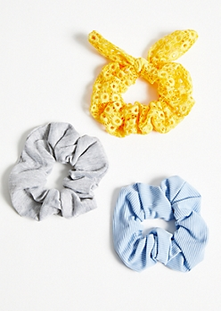 3-Pack Yellow Crochet Bow Scrunchie Set