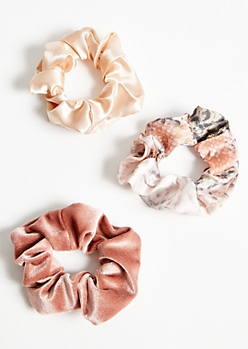 3-Pack Pink Snakeskin Print Scrunchie Set