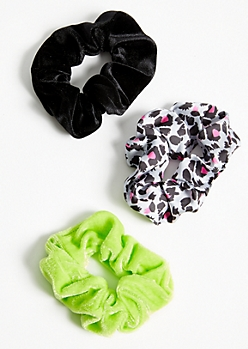 3-Pack Neon Leopard Print Scrunchie Set