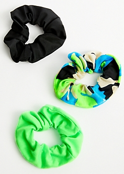 3-Pack Neon Camo Print Scrunchie Set