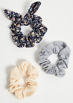 3-Pack Navy Floral Print Bow Scrunchie Set