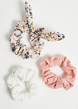 3-Pack Pink Floral Print Bow Scrunchie Set