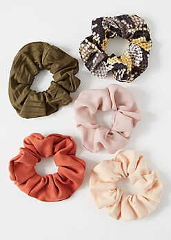 5-Pack Multi Snakeskin Print Hair Scrunchie Set