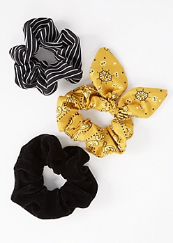 3-Pack Yellow Bandana Bow Hair Scrunchie Set