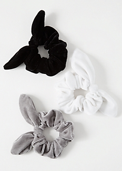 3-Pack Neutral Velvet Bow Hair Scrunchie Set