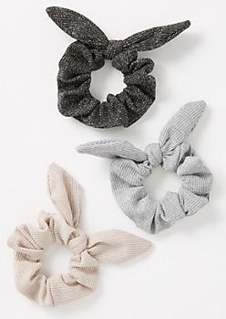 3-Pack Neutral Shimmer Scrunchie Set
