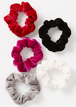 5-Pack Red Velvet Scrunchie Set