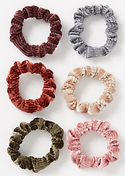 6-Pack Velvet Shimmer Mini Scrunchie Set