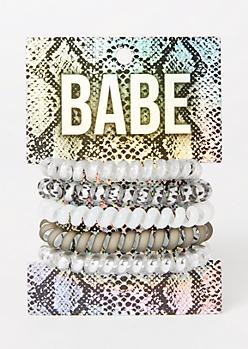 5-Pack Metallic Leopard Spiral Hair Tie Set