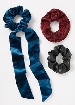 3-Pack Blue Velvet Bow Scrunchie Set