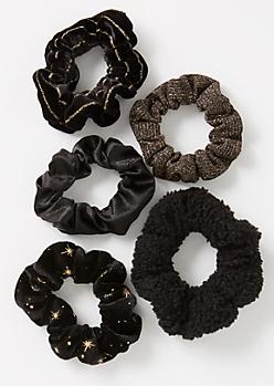 5-Pack Black Celestial Scrunchie Set