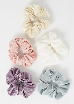 5-Pack Cream Ribbed Velvet Scrunchies