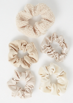 5-Pack Cream Assorted Scrunchies