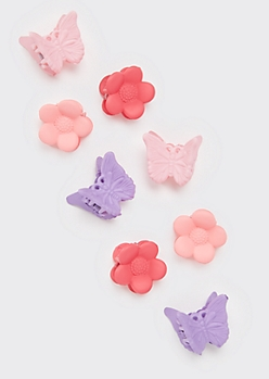 8-Pack Mini Flower Butterfly Clips
