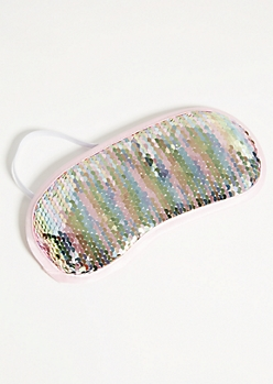 Bright Rainbow Sequin Plush Sleep Mask