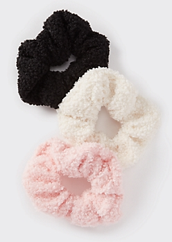 3-Pack Neutral Curly Sherpa Scrunchies