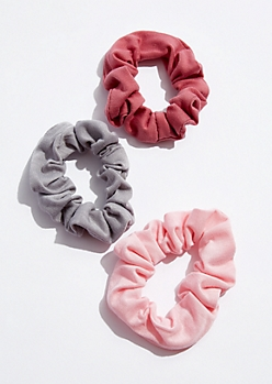 3-Pack Pink Soft Knit Scrunchies