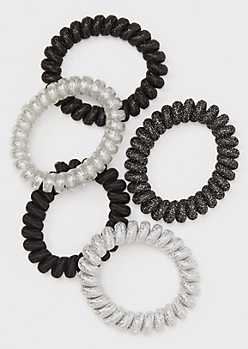 5-Pack Black Glitter Coil Hair Ties