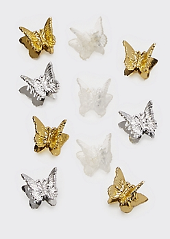 10-Pack Metallic Butterfly Clips