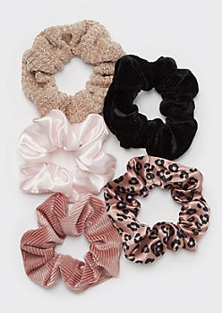 5-Pack Leopard Print Satin Scrunchie Set