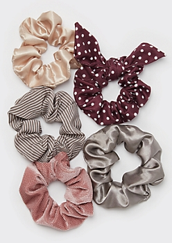 5-Pack Polka Dot Bow Scrunchie Set