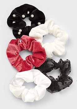 5-Pack Red Swiss Dot Pearl Scrunchie Set