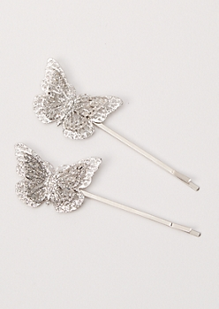 2-Pack Silver Butterfly Glitter Hair Clips