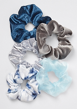5-Pack Blue Chiffon Tie Dye Scrunchie Set