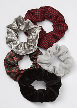 5-Pack Red Plaid Rose Velvet Scrunchie Set
